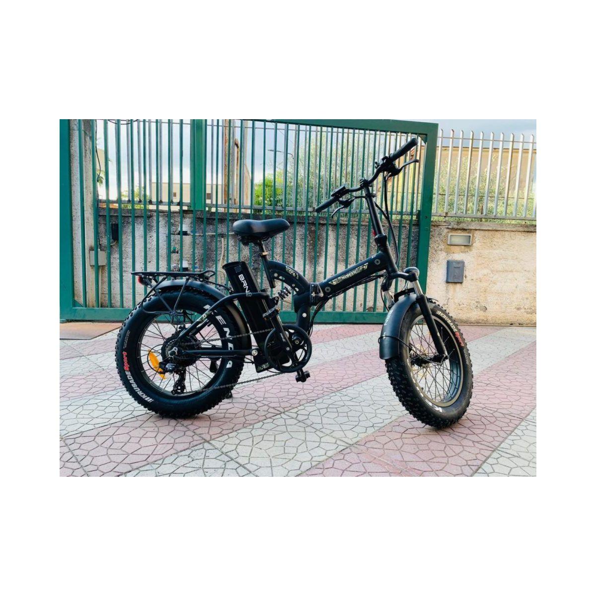 Fat Bike E-Bike 20′ Bicicletta Bici pieghevole elettrica Biammortizzata 500w 48V Nero Militar BRN22