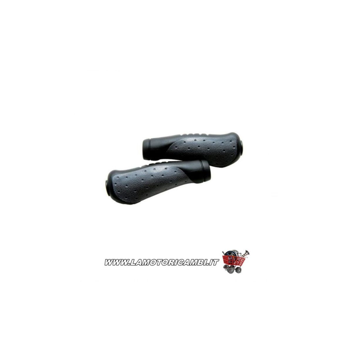 Coppia manopole per bicicletta nero/grigio 130mm.
