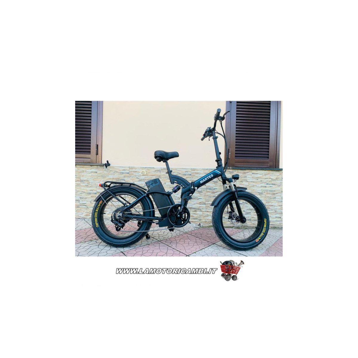Fat Bike E-Bike 20′ Bicicletta Bici pieghevole elettrica Biammortizzata 500w 48V Nero Martes