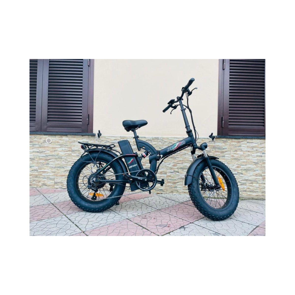 Fat Bike E-Bike 20′ Bicicletta Bici pieghevole elettrica Biammortizzata 500w 48V Nero Jeep Class