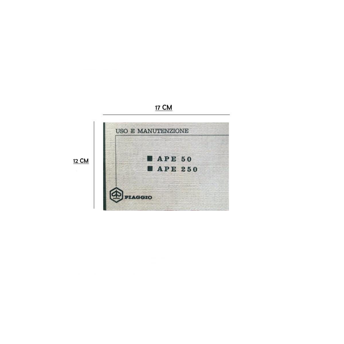 Manuale libretto uso e manutenzione per APE 50 250 dal 1969