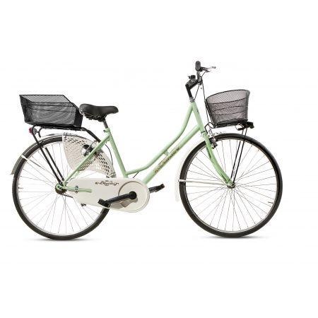 Bicicletta Donna da Passeggio Olanda Verde Misura 26 Bici da città Vintage retrò con Cestino anteriore e posteriore